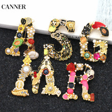 Canner Luxury Letter Rhinestone Pearl Broochs For Women Girl Statement Jewelry Fashion Brooches Pin Clothes Accessories