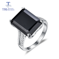 TBJ,Big black spinel rings natural gemstone emerald cut 925 sterling silver classic design for woman fashion fine jewelry