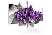5 Pieces Canvas Painting Modern purple Orchid Flowers Poster Prints Living Room Wall Art Home Decoration Painting Framed PJMT-25(China)