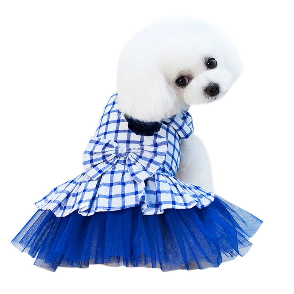 Dog Clothes For Small Dogs Pet Products Clothing Small Dog Dress Cute Pet Bubble Grid Dress Dog Cat Cute Summer Skirt