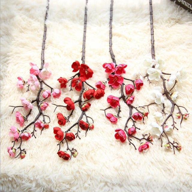 7 шт./лот, цветы вишни сливы, шелковые искусственные цветы, пластиковые Стволовые ветки сакуры, ветки дерева, декор для домашнего стола, свадебные украшения, венок
