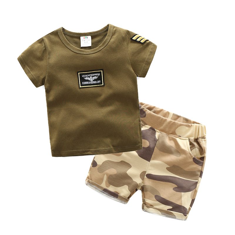 Child Boy's Summer Clothing Set 2017 Baby Boy Short Sleeve Army Green T-Shirt and Camouflage Shorts