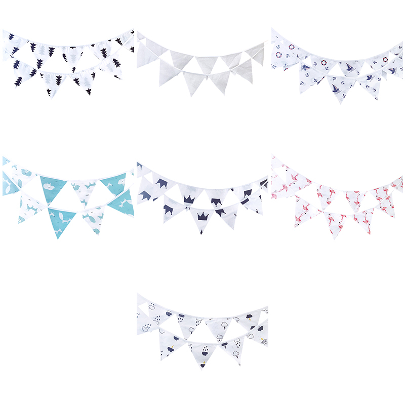12 Flags 3.2m New Design Cotton Fabric Bunting Pennant Flags Banner Garland Wedding/Birthday/Baby Show Party Decorative Supplies