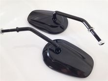 New Black Rearview Mirrors For Harle Davidson FLSTC FXDB DYNA FXDF FLSTF 8mm