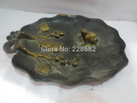 Chinese old copper/bronze carved Tree leaf Gold gilt Frog tray Statue