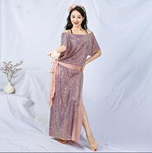 Image 3 - חדש נצנצים נשים בלאדי Shaabi Saidi תלבושות 4 חתיכה סט חלוק בטן ריקוד שלב להראות ביצועים תלבושת Loose עיצוב