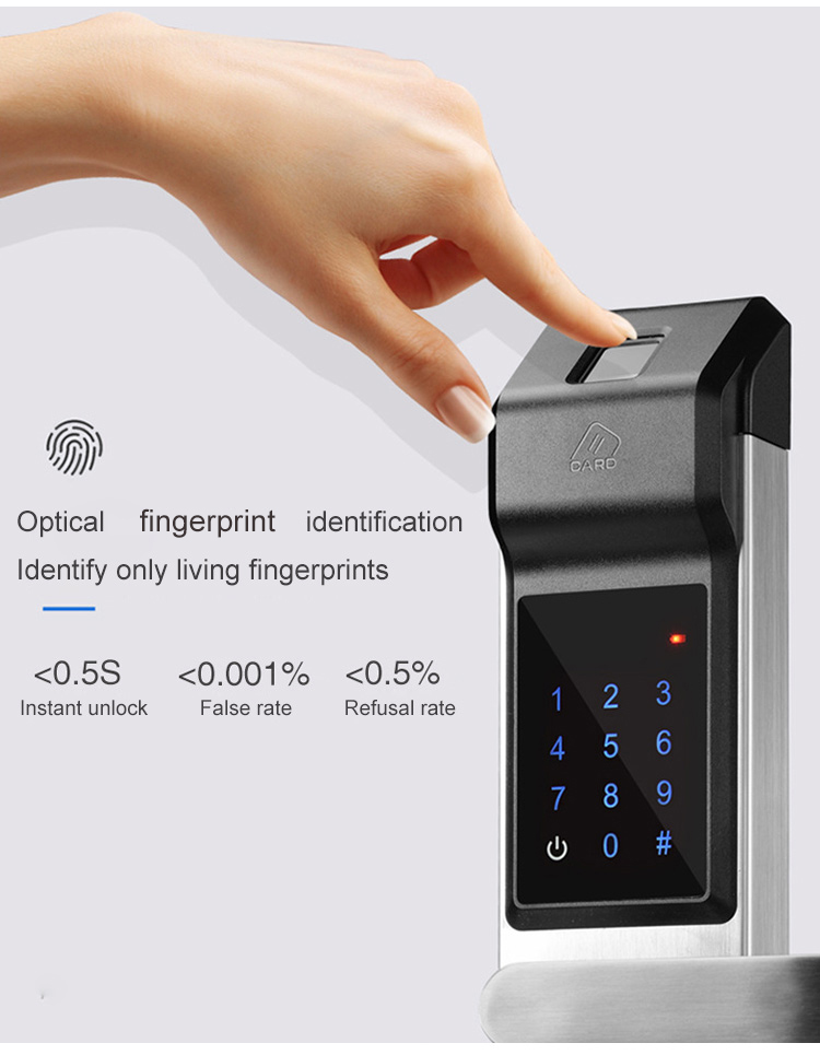Smart Door Lock Fingerprint Digital Password Key IC Card 4 in 1 Electronic Smart Door Locks For Home Office Apartment (3)