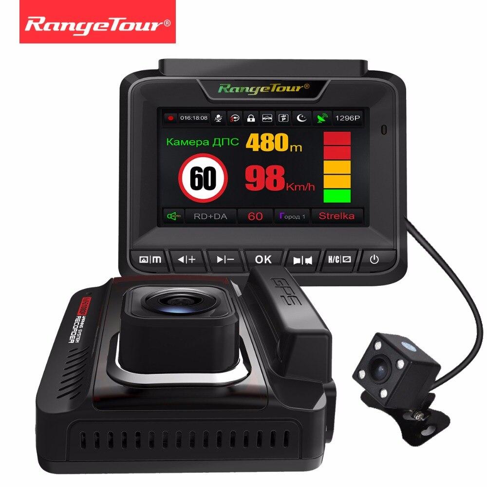 Russia 3 in 1 Rivelatore Del Radar GPS Dash Cam Dual Lens FHD 1296 P Video Recorder Auto Fotocamera Posteriore DVR Auto Registrar Anti Radar Dati