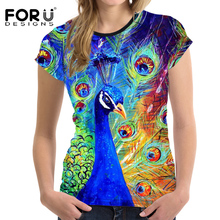 FORUDESIGNS T-shirt Womens 3D T Shirt O-Neck Women Bright t-shirts Peacock Animal t shirt Female Tops Tees Casual Clothing S M