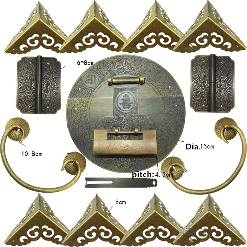 Chinese Brass Lock Set For For 100-150cm Large Wooden Box,Vase Buckle Hasp Latch Lock+ Hinge+Corner+Handle,Bronze Tone charm with lock buckle trumpet thickened wooden padlock hasp lock buckle buckle piece luggage accessories wooden doors