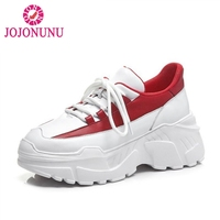 JOJONUNU Women Sneakers Genuine Leather Vulcanized Shoes Women White And Red Thick Bottom Fitness Wedges Sneaker Size 34 39