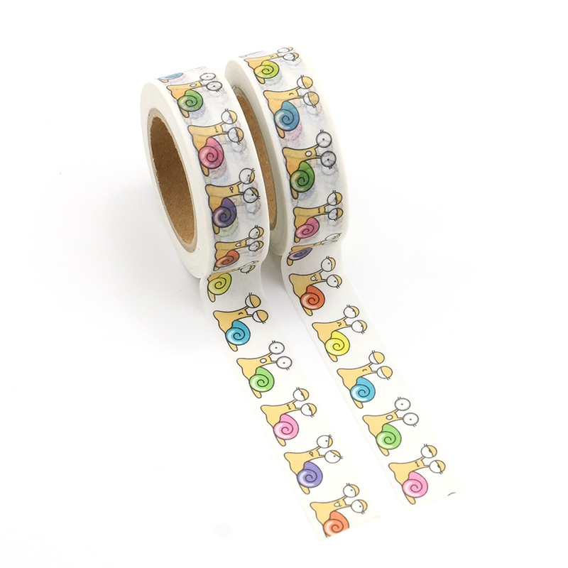 2PCS/lot Decorative Cute Snail Washi Tapes Paper For Planner Scrapbook Bullet Journal Adhesive Tapes 15mmx10m School Supply