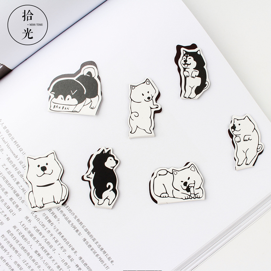 2 Pcs/pack Cute Shiba Dog Magnet Bookmark For Book Cartoon Paper Clip School Office Supplies Escolar Gift Stationery
