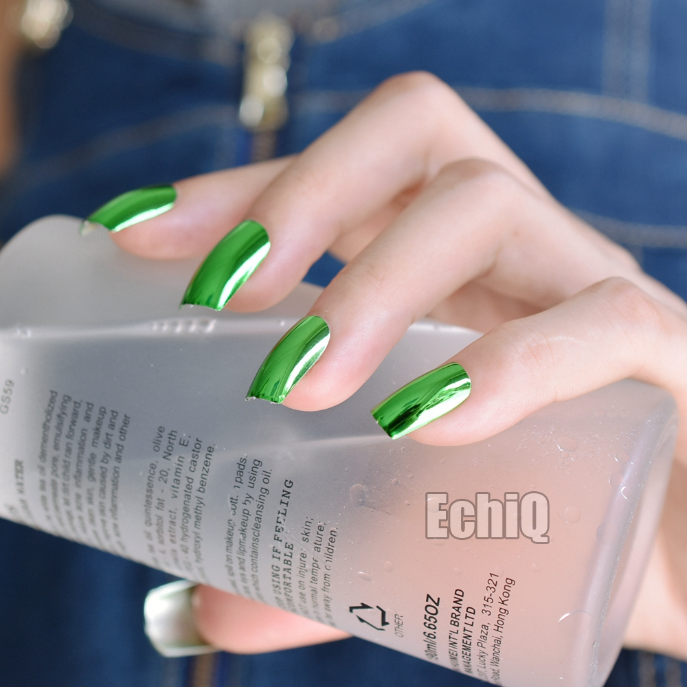 24pcs green mirror acrylic nails metallic long size faux ongles flat will solutioingenieria Images