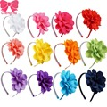 10pcs/lot High Quality Hair Band With Grosgrain Ribbon Flower For girls Handmade Flower Hairbow Hairband Baby Hair Accessories