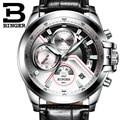 2017 Hombres Relojes de Primeras Marcas de Lujo BINGER Grande Diseñador Dial Cronógrafo de cuarzo inoxidable Resistente Al Agua Relojes de Pulsera B-9016-5