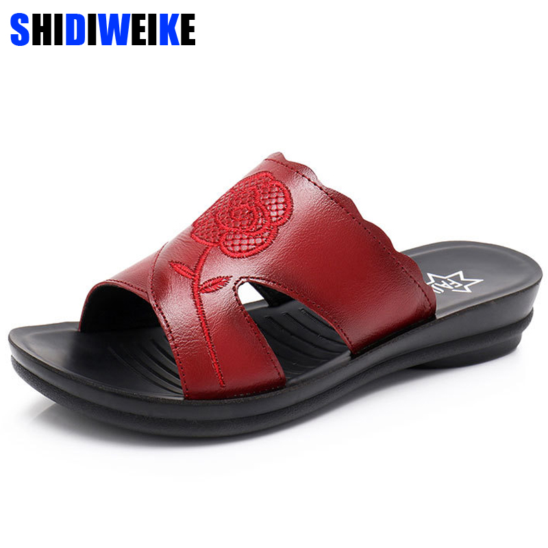 2018 Sequins Rose Flowers Embroidery Genuine Leather Wedges Sandals mother Slippers red black Slides Women Summer Beach Shoes
