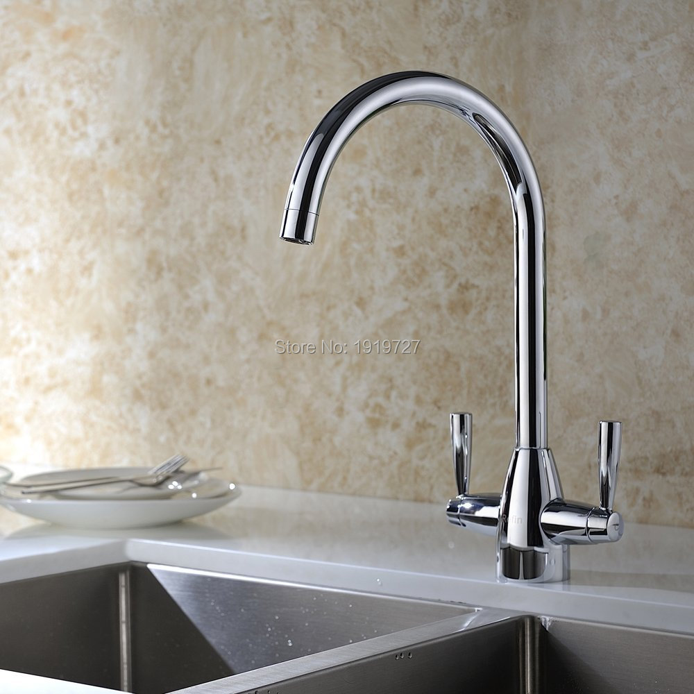 Wholesale Highly Recommended Hot and Cold Mixer Solid Double Levers Brushed Steel Kitchen Taps, Super Quality Kitchen Mixer Taps