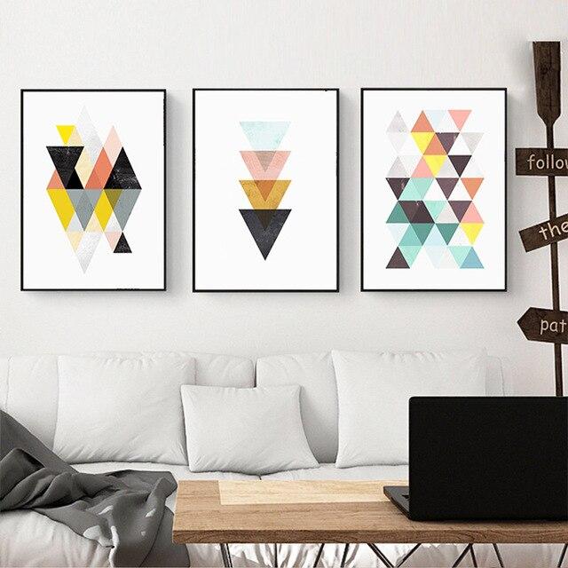 Haochu Grafik Geometri Segitiga Art Kanvas Lukisan Abstrak Nordic Ruang Tamu Rumah Dekorasi Dinding Poster Frameless