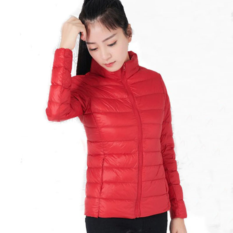 Women Down Jacket 2017 Autumn Winter short female Coats White duck down plus size 3XL outerwear slim thin pink top coats QH0953