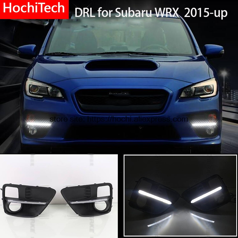 High quality 6000K white LED Car DRL Daytime running lights for Subaru WRX 2015 2016 2017 bumper fog light cover driving lamp