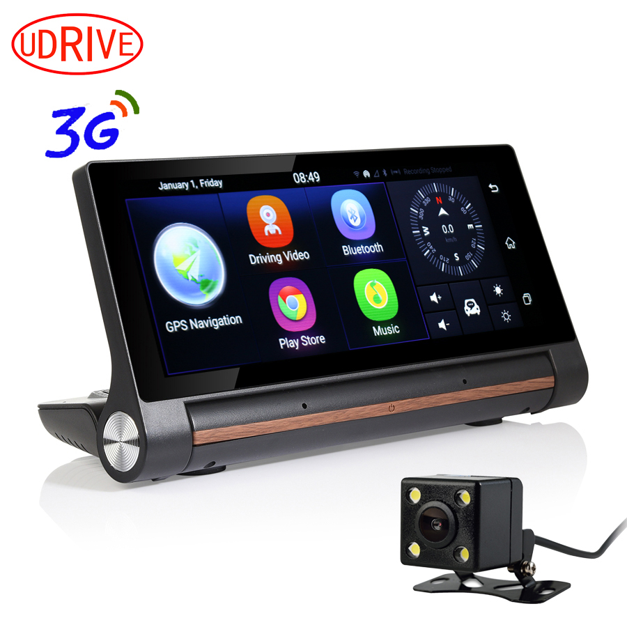 UDRIVE OTS Store Udrive 7 inch 3G Dashboard Android 5.0 GPS Navigation Dual Lens Bluetooth 1GB RAM Rear View Camera WiFi Hotspot FHD 1080P DVR