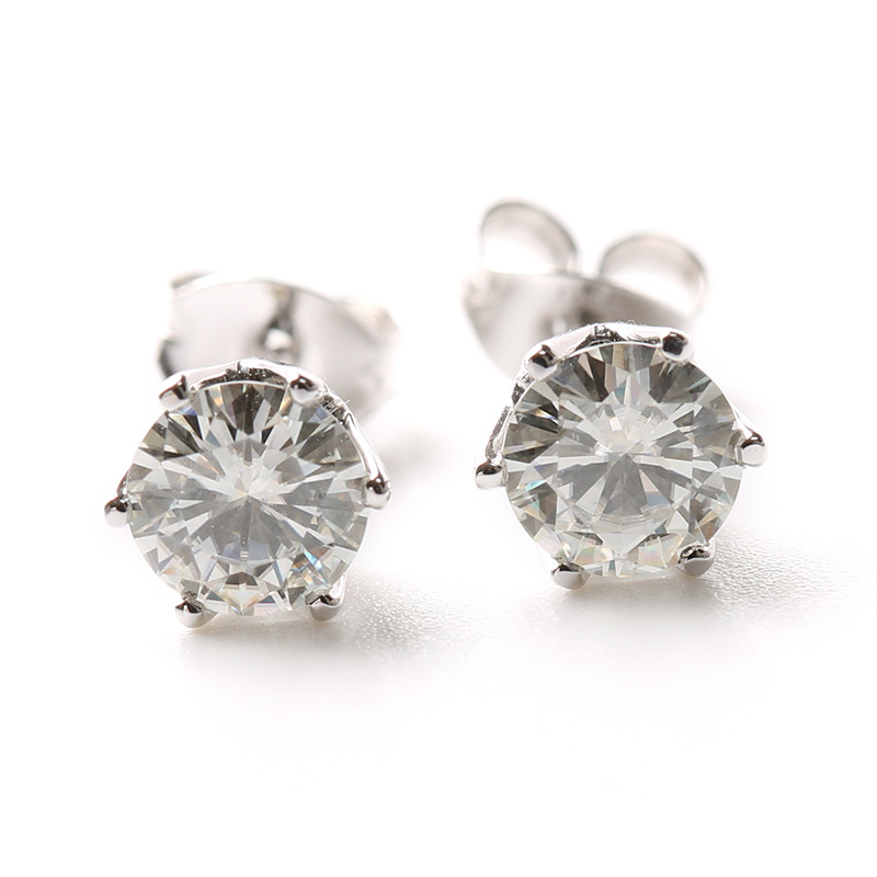 Transgems 1 Tcw 0 5 Carat Lab Grown Moissanite Diamond Stud Earrings Solid White Gold Push Back Women Birthday Wedding Gift