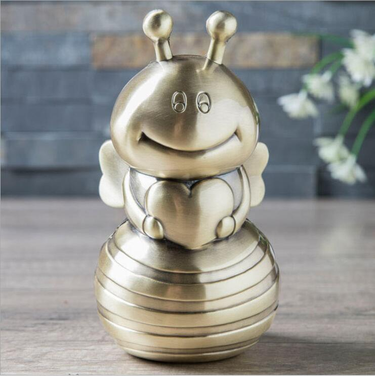 Cartoon Bee Metal Piggy Bank Safe Cash Box For Money Money Hidden Safe Coin Dispenser Coin Counter For Kids Gifts PB047