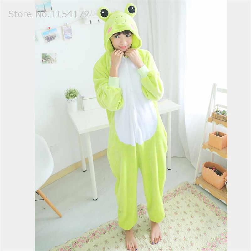 Кигуруми лягушка животных комбинезоны пижамы мультфильм костюм Косплей пижамы комбинезоны для взрослых вечернее платье на Хэллоуин пижамы