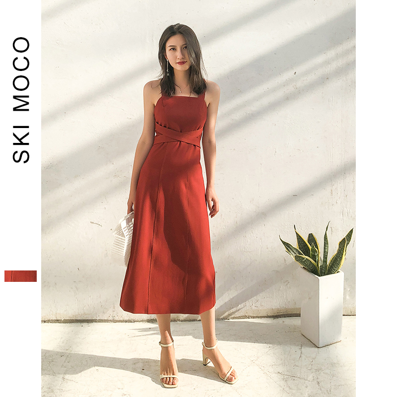 Summer Dresses Women Retro Wine Red 2019 New Fashion Straps Bandage A Line Evening Party Prom