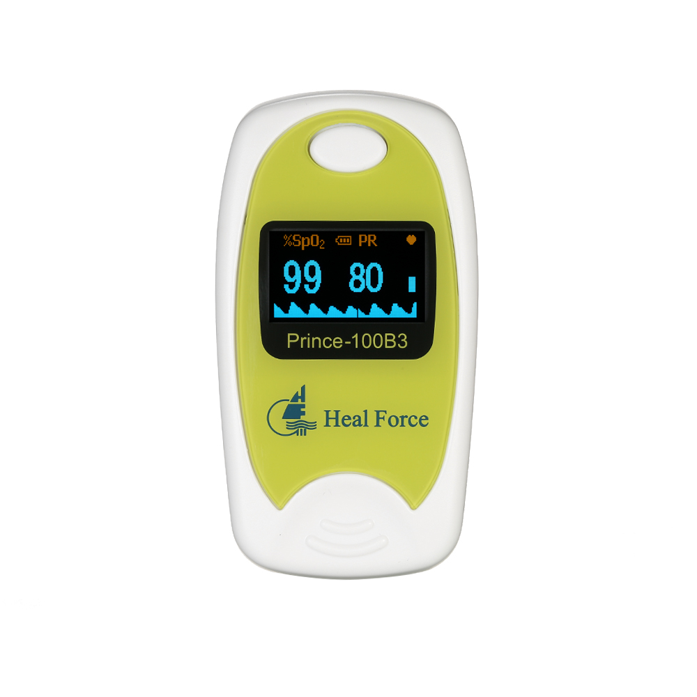 Heal Force Blood Oxygen Saturation Monitor Medical OLED Finger Pulse Oximeter & Pouch SPO2 Pulse Rate Perfusion Index Detect