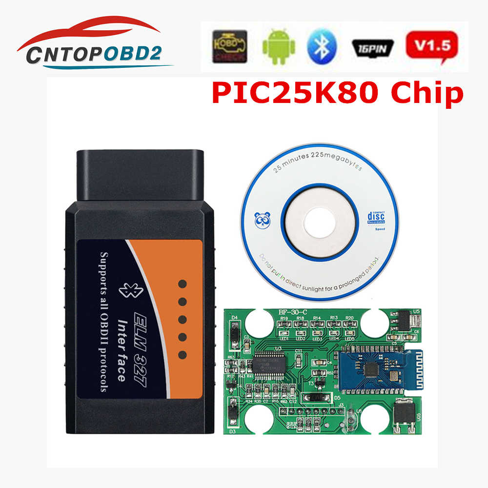 Wifi ELM327 V1.5 PIC18F25K80 Chip OBD2 V1.5 Mini Elm 327 Bluetooth Auto Diagnostic Tool OBDII for Android/IOS/Windows