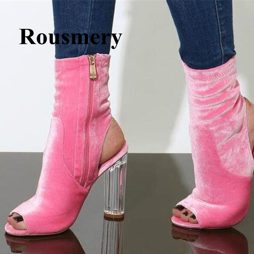 Hottest Fashion Ankle Boots Round Heel Peep Toe Flock Solid Spring Autumn Side Zipper Women Boots High Quality Noamal Size women spring autumn peep toe with tassel ankle boots ankle lace up flock fringe women spring autumn peep toe ankle boots