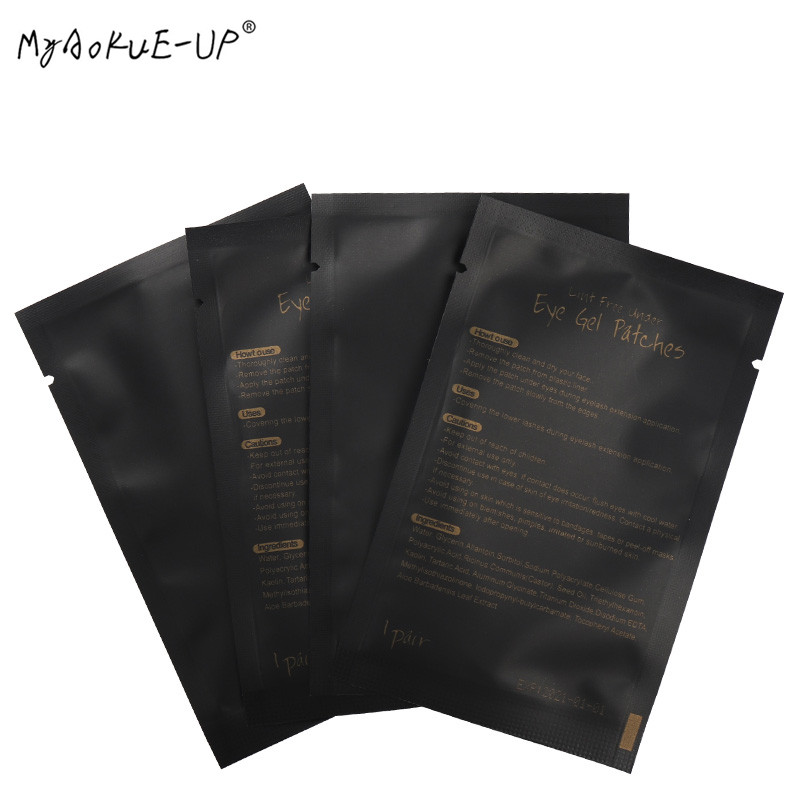 100pairs/lot Eyelashes Paper Patches Tips Sticker Wraps Under Eye Pads Black Package For Makeup Tools Eyelash Extension