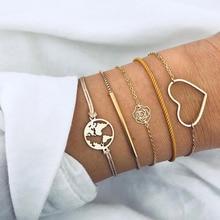 купить 5 Pcs/Set Gold Link Chain Hollow Flower Love Heart World Map Charm Bracelet Set for Women Jewelry Bohemian Braclets Jewelry Gift дешево