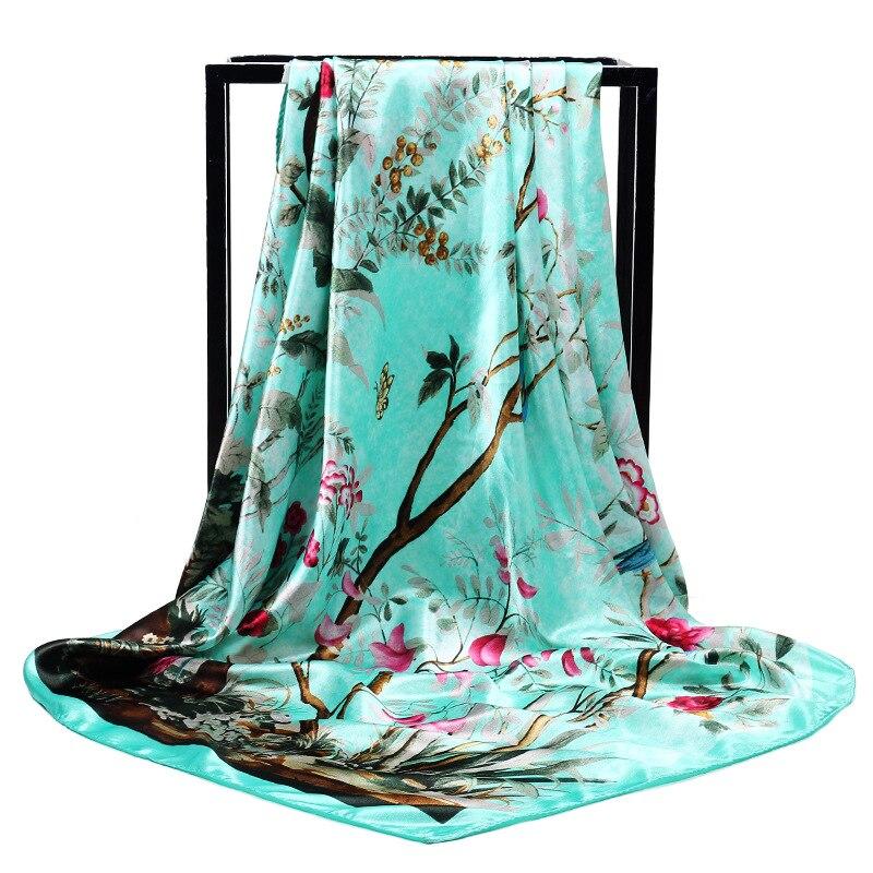 Women Silk Scarf Fashion Flowers Birds Print Large Square Head Scarves Wraps Luxury Brand Quality Female Shawls Bandana Hijab
