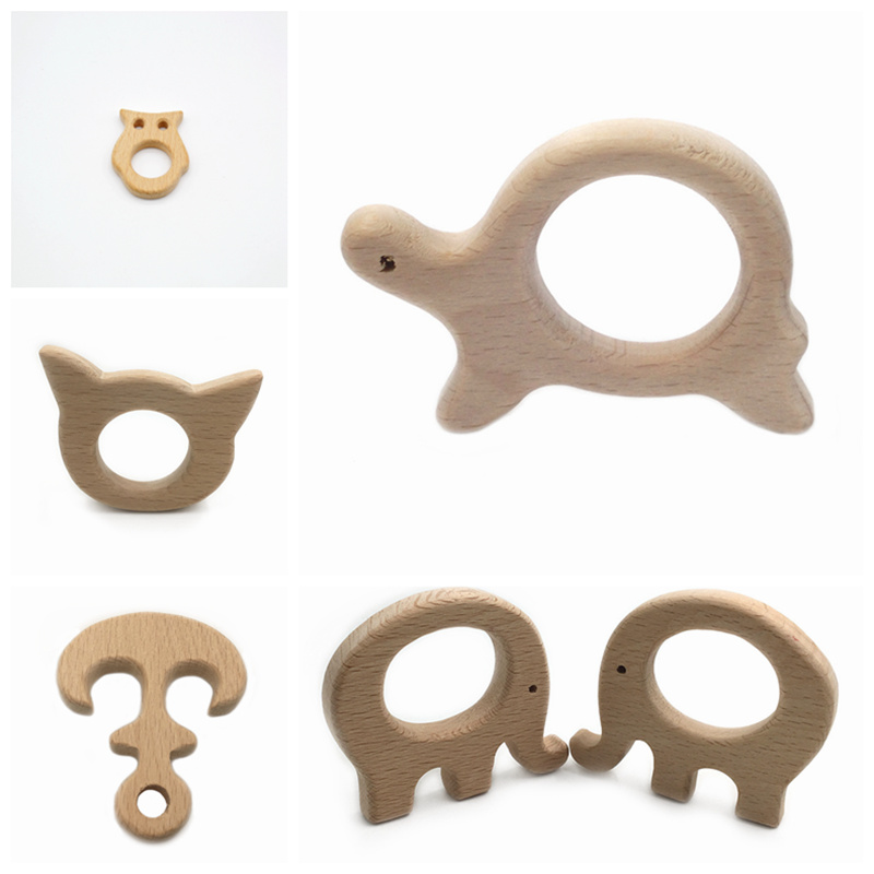 Wooden Teethers 1pc Natural Wooden Teething Rings Natural Wooden Animal Shape Baby Teether DIY Wood Ring Teether Sensory Toys