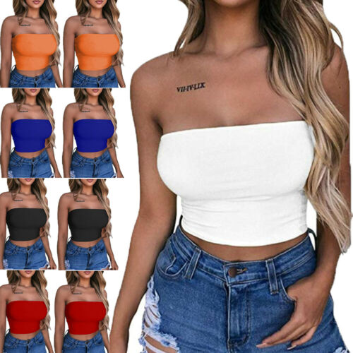 Women Off Shoulder Elastic Tube Tops Bra Strapless Bandeau Crop Top T Shirt