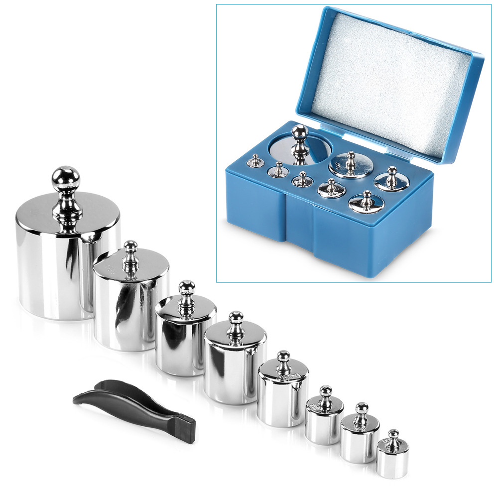 Neewer 8 Pieces 1000g Stainless Steel Calibration Weight Set Case Tweezers for Digital Jewellery Scale Science Lab Photo Studio