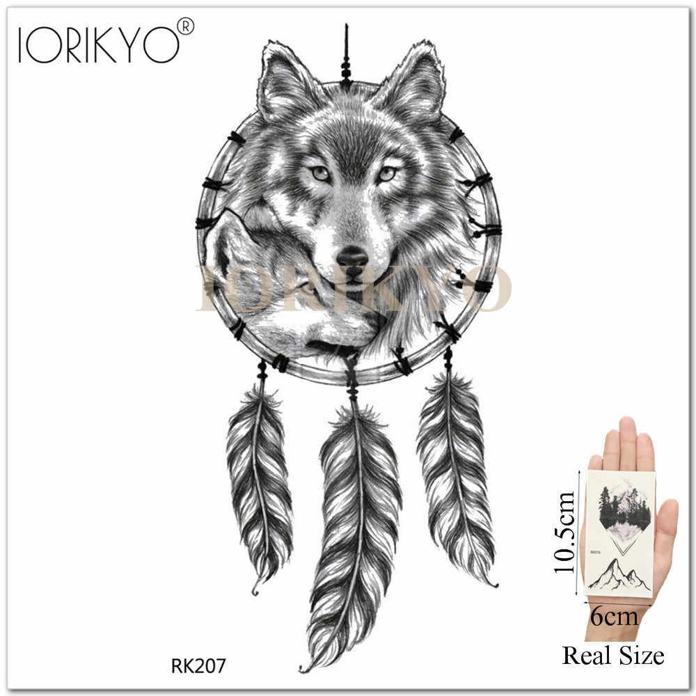 3e5469024 ... Fashion Universe Temporary Tattoo Men Wolf Stickers Women Arm Dreamcatcher  Wolf Totem Black Waterproof Tatoos Tattoo ...