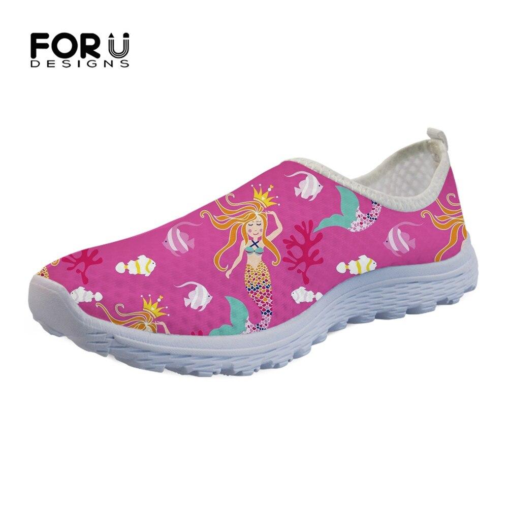 FORUDESIGNS Flats Pink Slip-On shoes Mermaid-Print Light Mesh Women Sneakers Casual Cartoon