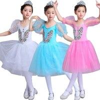 Short Sleeve Lace Romantic Tutu Girls Ballet dancing Costumes Child Velet Long Tulle dance wear Dress Skate Ballerina Dress Kids
