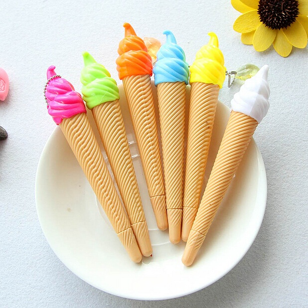 36pcs/lot Hot Sell!New Sweet Ice Cream design Gel Pen with pendant 0.38mm Black Fashion Style pen Promotion Wholesale