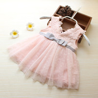 Infant Christmas Dress Pink Infant Dresses Baby Party Dresses Retail Sell Girls Summer V Neck Lace