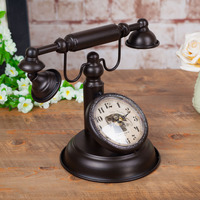 Watches Decoration Art Quartz Retro Vintage Telephone Clock Creative Bar Cafe Decor Store Window Decoration Model