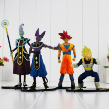 4pcs/lot Dragon Ball Battle Of Gods Theater Version Super Saiyan God Goku Vegeta Whis Beerus Action Figure Toys 12-19CM