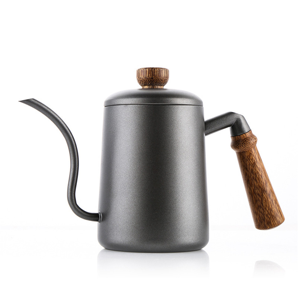 2019 New 600ml Wooden handle stainless steel Teapot Drip Coffee Pot Long Spout Kettle Cup Home Kitchen Tea Tool