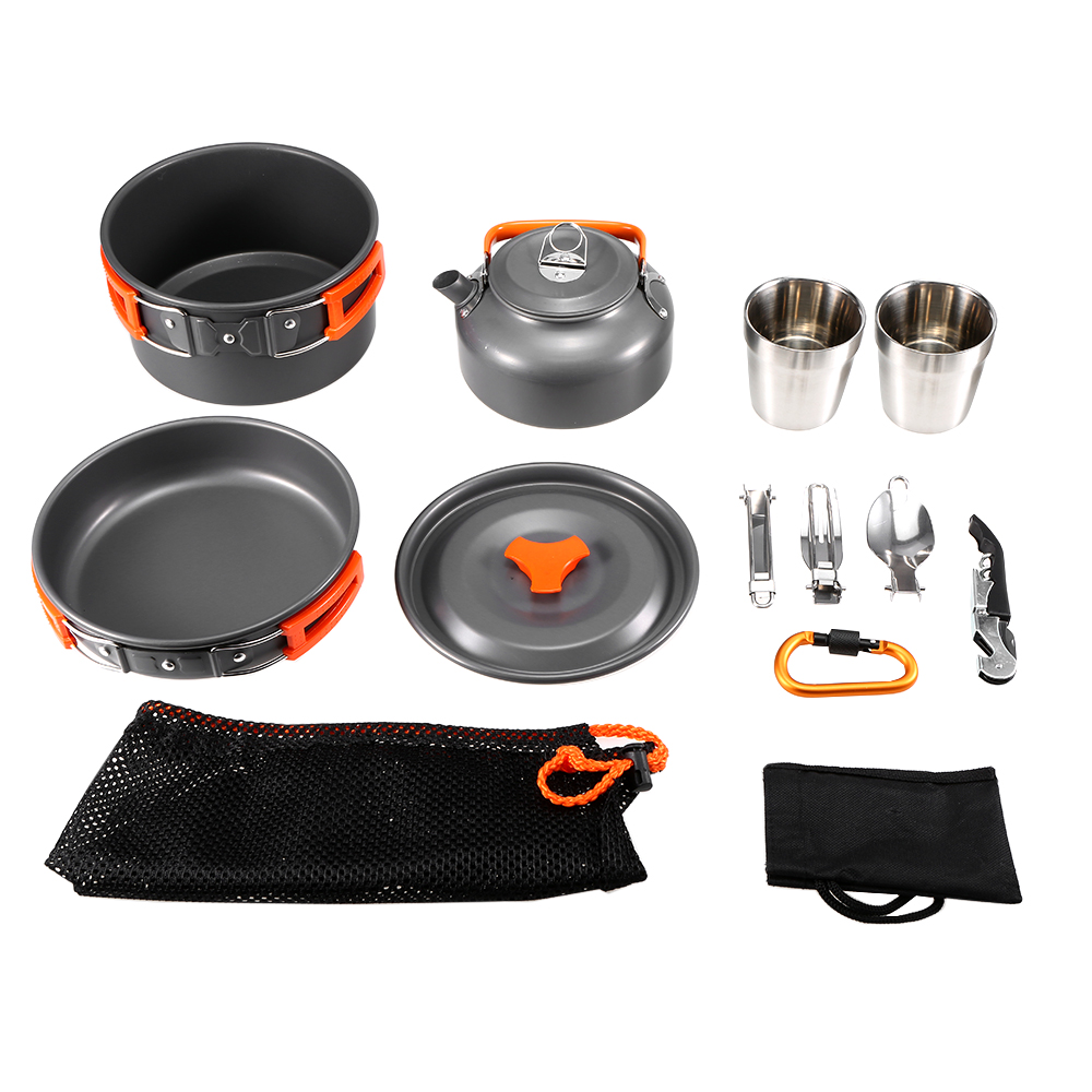 10 Pcs Camping Cookware Outdoor Cookware Set  Picnic Camping Cookware Tableware Kit With Spoon Fork Cutter Cup Bottle Opener10 Pcs Camping Cookware Outdoor Cookware Set  Picnic Camping Cookware Tableware Kit With Spoon Fork Cutter Cup Bottle Opener