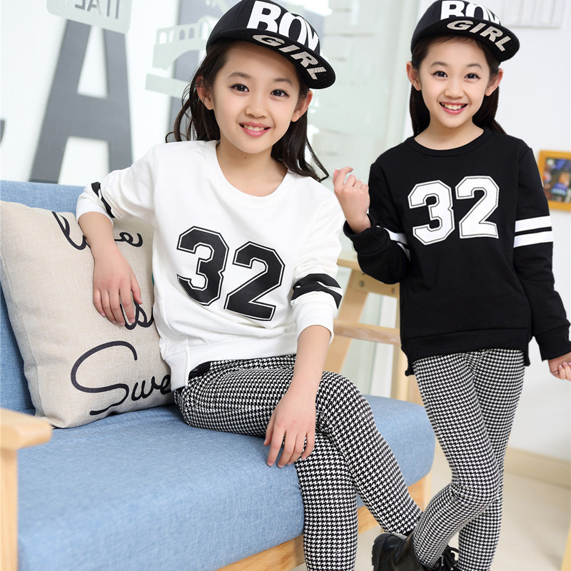 Children Clothing Leisure Suit Grils And Boys AutumnTwo-piece Uniform Numbers Children's Clothes 5-16Y