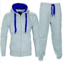 Mens Set 2PC Zipper Autumn Winter Sportswear Casual Tracksuit Male 2018 Sweatshirt Jacket +Pans Suit Hoodies Moleton Masculino